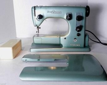 Vintage Mid Century Modern Husqvarna Automatic Viking SET Sewing Machine