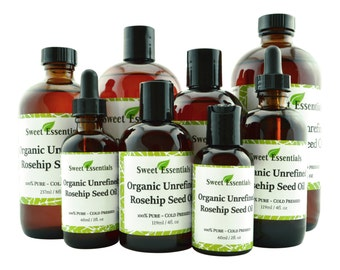 Organic Unrefined Virgin Rosehip Oil | Imported from Chile | 100% Pure | For Hair, SKin, & Nails | By Sweet Essentials