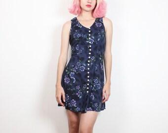 Anni 1990 vintage abito blu Navy stampa floreale in pizzo a corsetto indietro Mini abito degli anni ' 90 Grunge morbido senza maniche Sundress Skater vestito XS Extra Small S
