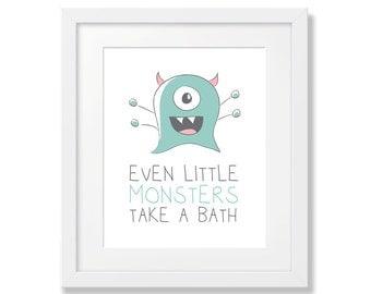 Kids Bathroom Art, Monster Art, Mint Green Monster Art, Kids Room Art, Kids Art, Wall Poster, Art Print, Digital Download - 8x10, 11x14