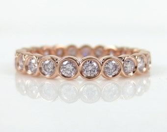 2.9mm Bezel Set Round Pink Diamond Eternity Band in 18k Rose Gold - Stacking Rings