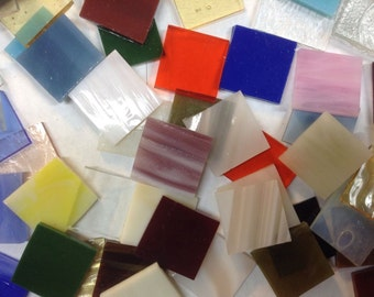 """MIXED 1"""" Glass Tile for Mosaic or Craft Projects 2 LBS."""
