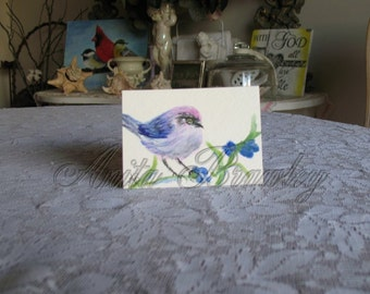 ACEO Little Bushtit Bird Watercolor Painting ~ includes shipping