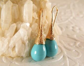 Blue gold earrings, Turquoise earrings, Tear drop earrings, Dangle gold earrings, Lithe blue earrings, Bridesmaid earrings, Wedding earrings