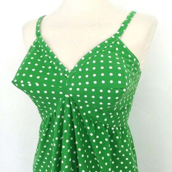vintage spotted dress grass green spotty cotton sundress 1960s conical bra flared trapeze skirt frilly hem handmade UK 10 12