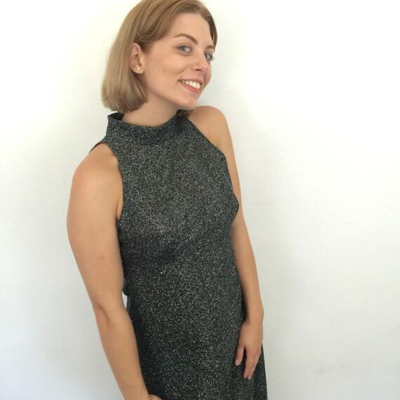 Vintage maxi dress sparkly silver blck lirex knit long gown A line 1970s disco dress halter style turtle neck empire line UK 8 US 4