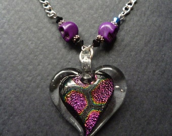 Dichoric glass Heart necklace ~ Heart and Skulls necklace