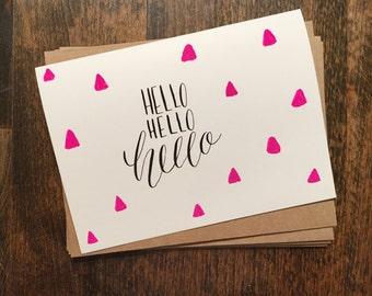Hello Hello Hello cards   Set of 4 notecards