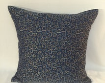 18x18 DENIM With a Touch of Gold and Red Throw Pillow. TOSS CUSHION Cover.