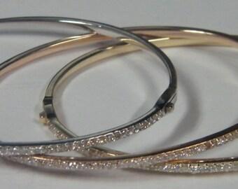 14kt white, yellow, rose gold diamond bangle bracelet with vault lock