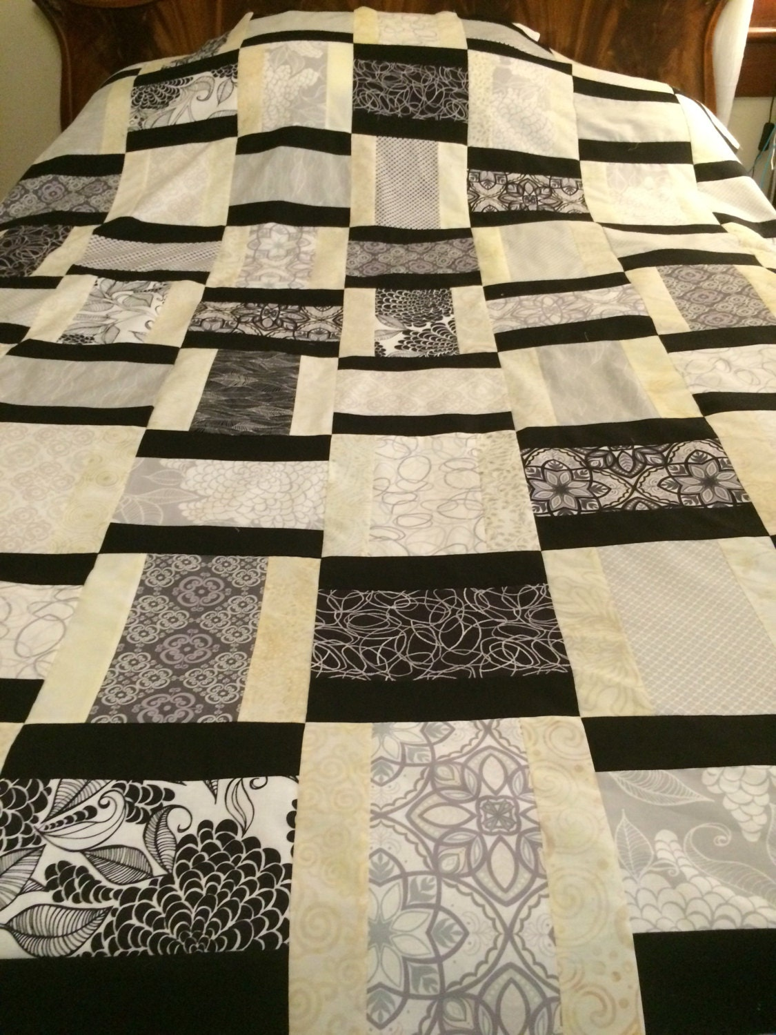 Reduced modern blackwhitegray quilt top 66x72 for Black white and gray quilt patterns