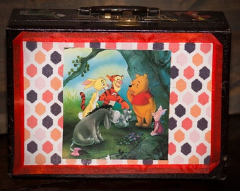 Vintage Suitcase Upcycled in Pooh Theme