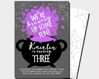 Halloween Birthday Invitation   Halloween Party Invitation   Witch Birthday Invitation   Brewing Up Some Fun   Fall Birthday Invitation