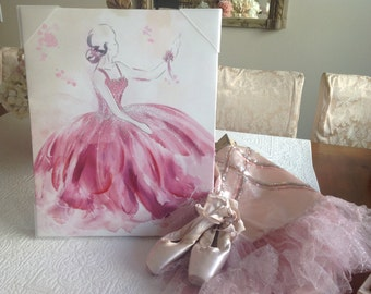 Lovely shabby cottage boudoir painting of pink ballet dancer on canvas