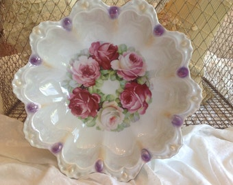 Lovely antique JS Germany pink roses scallop decorated porcelain bowl
