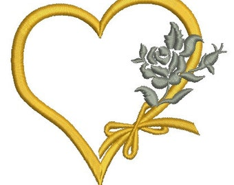 heart and roses - Machine Embroidery Design