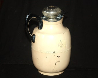 Vintage Art Deco Style Beige Manning and Bowman Thermos Carafe