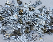 Bulk charms, fast shipping from USA, 5, 10 , 25, 40 or 50 charms, mixed charms, silver charms, bronze charms, jewelry charms, lot of charms