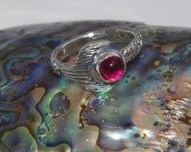 Free Shell Box Bigger Hand Made H2O Just Add Water Mako Mermaid Tail Ring Lab Created Ruby 6 mm 925 Sterling Silver-Custom Size