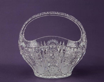 Mid-century Modern Vintage Pinwheel Glass Gift Crystal BOWL Large Opulent Dinner Rice English Late 1900s LS