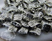 Silvertone Scroll Pattern Metal Spacers, double spacers, 3 strand spacers, petite metal spacer beads, metal findings, choker  - reynared