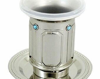 Judaica Kiddush Cup Goblet Saucer Nickel Plated Sabbath Havdalah Aqua Stones