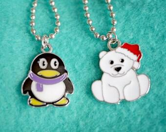 Winter Christmas penguin or polar bear necklace