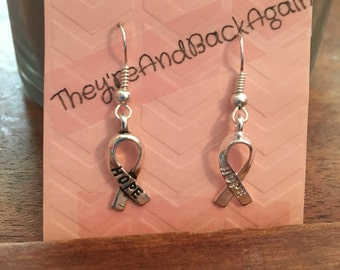 Silver HOPE ribbon Earrings