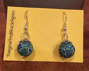 Lime&Blue Flowers Clay Bead Earrings