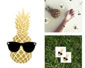 Gold Metallic Pineapple Temporary Tattoo   Party Favor Gold Metallic Flash Tattoo   Party Gift Gold Custom Temporary Tattoo
