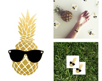 Gold Metallic Pineapple Temporary Tattoo | Party Favor Gold Metallic Flash Tattoo | Party Gift Gold Custom Temporary Tattoo