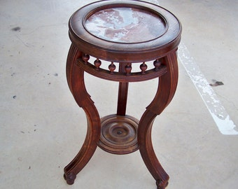 Antique Marble Top Table / Plant Stand / Side Table