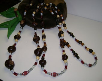 """Buckeye Wood Bead """"GoBucks""""Necklace W/Football in 3 different sizes of Buckeyes!XXLarge 1 1/4 to 1 1/2, Large-1""""inch,Baby's 1/2"""" to 3/4"""""""