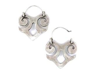 Silver Tribal Small Spade Hook In Earrings