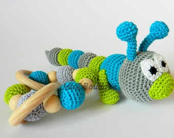 Crochet baby toy SET of 2 Teething baby toy.  Grasping and Teething Toys. Caterpillar. Stuffed toys. Gift for baby!