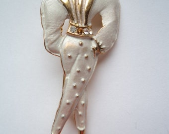 Vintage Unsigned Goldtone/Satin White Large Classy Lady Brooch/Pin