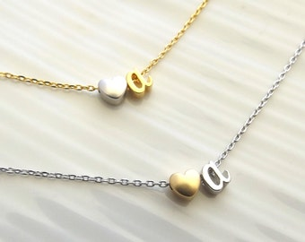 Initial Necklace Heart and Initial Necklace Two Tone Silver Gold Necklace Bridesmaid Gift Bridesmaid Jewelry Heart Necklace Gifts For Her