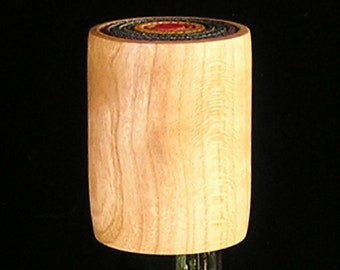 Hand turned Cherry wood bottle stopper winecap