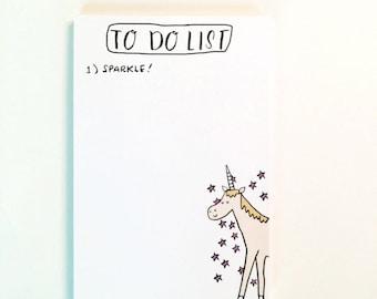 To Do List, Notepad, Unicorn Notepad, Unicorn