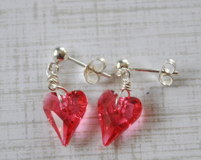 Hot Pink crystal Heart earrings, Valentine earrings, gift for her, love