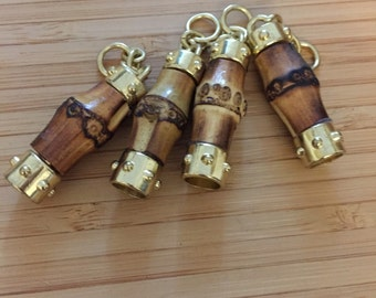 35 x 12mm bamboo zip puller head with gold hardware, handbag and purses hardware
