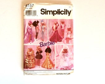 "Simplicity 8157, Fashion Doll Clothes Pattern,  11 1/2"" Doll Clothes, Uncut"