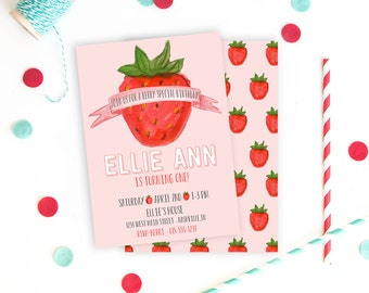 Strawberry Birthday Invitation - Digital File Berry First Birthday Summer Invite Printable 1st Birthday Party Watercolor Strawberry Girl Red
