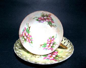 Vintage Tea Cup and Saucer, Teacup Set, Purple Florals on Light Yellow Porcelain, Pierced Lace Rim, Teacup Collector, Crossed Arrows