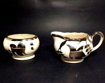 Cream and Sugar Set, Lancaster Sandland, Hanley England Creamy White and Silver, English Porcelain