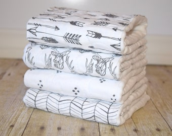 burp cloths, baby shower gift, cotton burp cloth, burp cloth set, personalized burp cloths, rustic modern nursery decor, free shipping