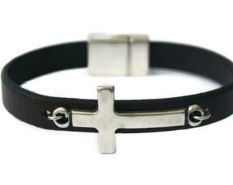Christian Bracelet with Sideways Cross Gift for Dad Leather Bracelet Mens Gift Men's Leather bracelet Silver Cross Bracelet Baptism Gift