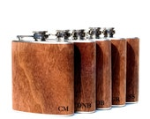 Set 5 flask, wedding party, hipster, unique gift groomsmen wood wrapped metal flask