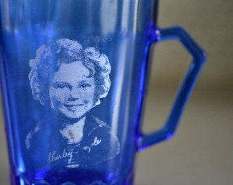 Cobalt Blue Pitcher Creamer Shirley Temple 1930's