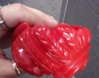 Huge Deeply Carved Red Bakelite Bangle Bracelet
